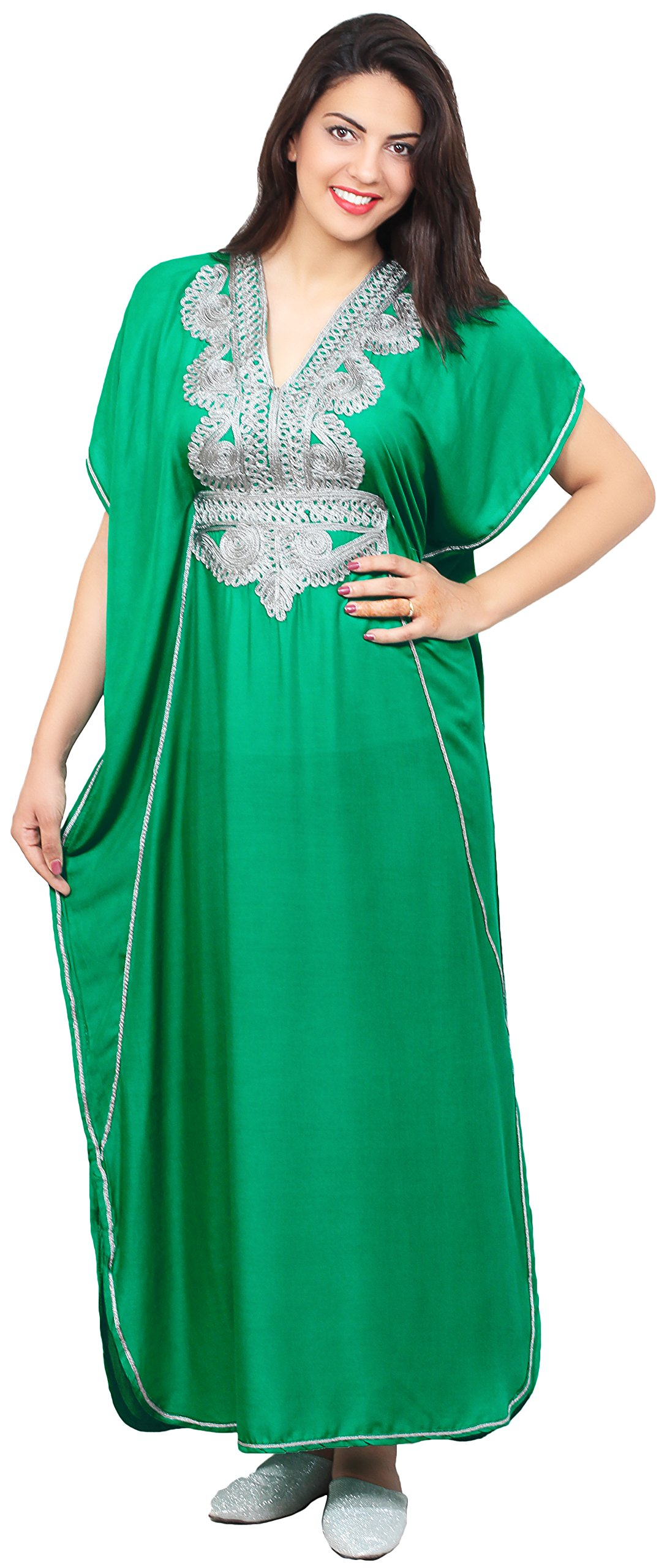 Moroccan Caftan Handmade Light Weight Cotton Silver Hand Embroidery Breathable Soft Green