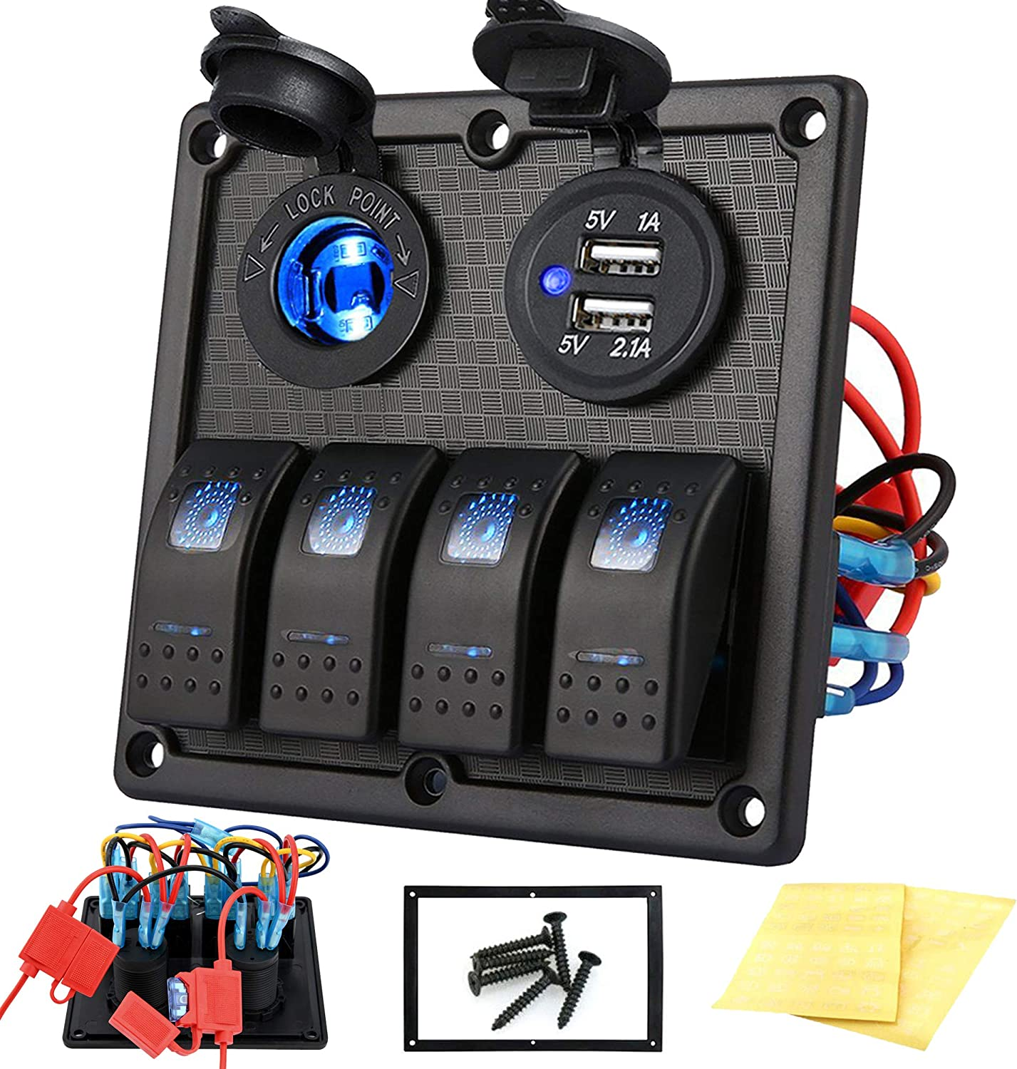 amazon.com : kohree 4 gang marine boat rocker switch panel, 12v waterproof  led lighted toggle switches fuse breaker protected control with 12 volt  marine usb power outlet for car boat rv scooter  amazon.com