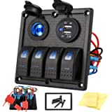 Kohree 4 Gang Marine Boat Rocker Switch Panel, 12V Waterproof LED Lighted Toggle Switches Fuse Breaker Protected Control…