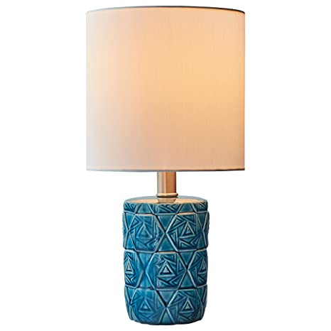 Rivet Geometric Ceramic Table Lamp With Bulb 15 H Ocean Blue