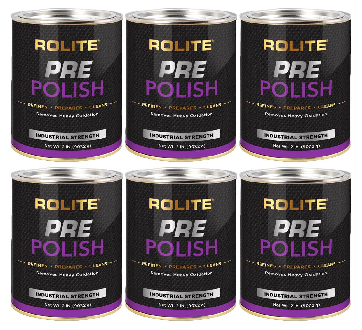 Rolite Pre-Polish (2lb) for Heavily Oxidized, Stained, Discolored and Corroded Metal, Clear Coated and Gel-Coated Surfaces 6 Pack