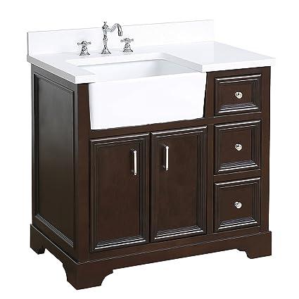Zelda 36 Inch Bathroom Vanity Quartz Chocolate Includes A