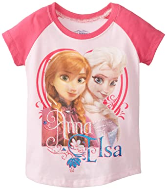 Frozen Little Girls Toddler Anna And Elsa Short Sleeve Raglan T Shirt
