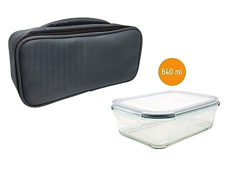 Nerthus Lunch Bag Gris Rectangular + Tuppers Fiambrera bolsa termica porta alimentos indivdual 1 tupper Hermético cristal, Única