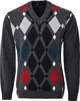 Guv\'nors Mens Knitted Jumper Diamond Pattern V Neck Long Sleeves ...