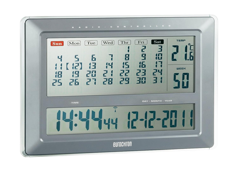 eurochron jumbo  Jumbo orologio da parete radiocontrollato Calendario efwu 222 ...