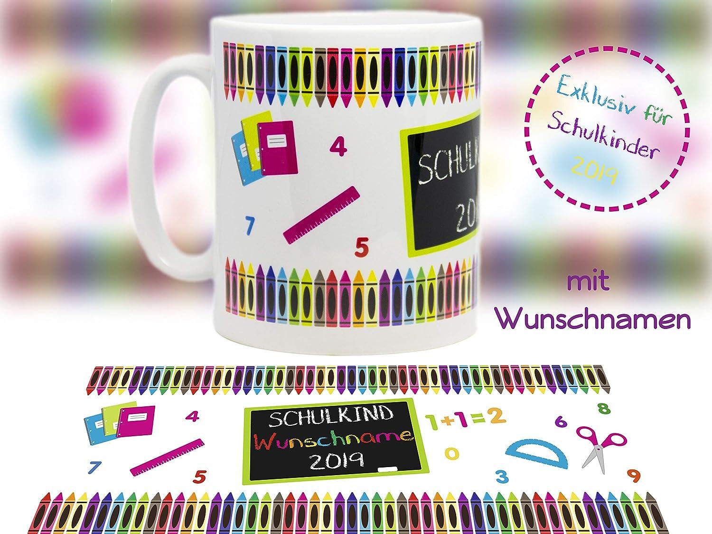 Schult/üte Schulbeginn Schulanfang Tasse mit Motiv Einschulung Schulkind 2019-1 Keramik optional mit Wunschname personalisierbar//tolles Geschenk //