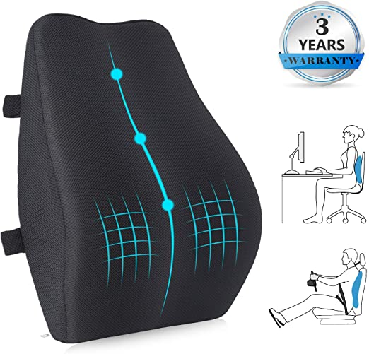 Amazon Com Lumbr Support Pillow For Office Chair Memory Foam Back