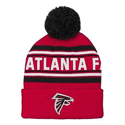 e37533378b2 NFL Atlanta Falcons Kids   Youth Boys Jacquard Cuffed Knit Hat with Pom  Crimson