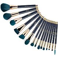 Jessup 15pcs Makeup Brushes Set Powder Foundation Eyeshadow Eyeliner Lip Contour Concealer Smudge Brush Tool Blue…