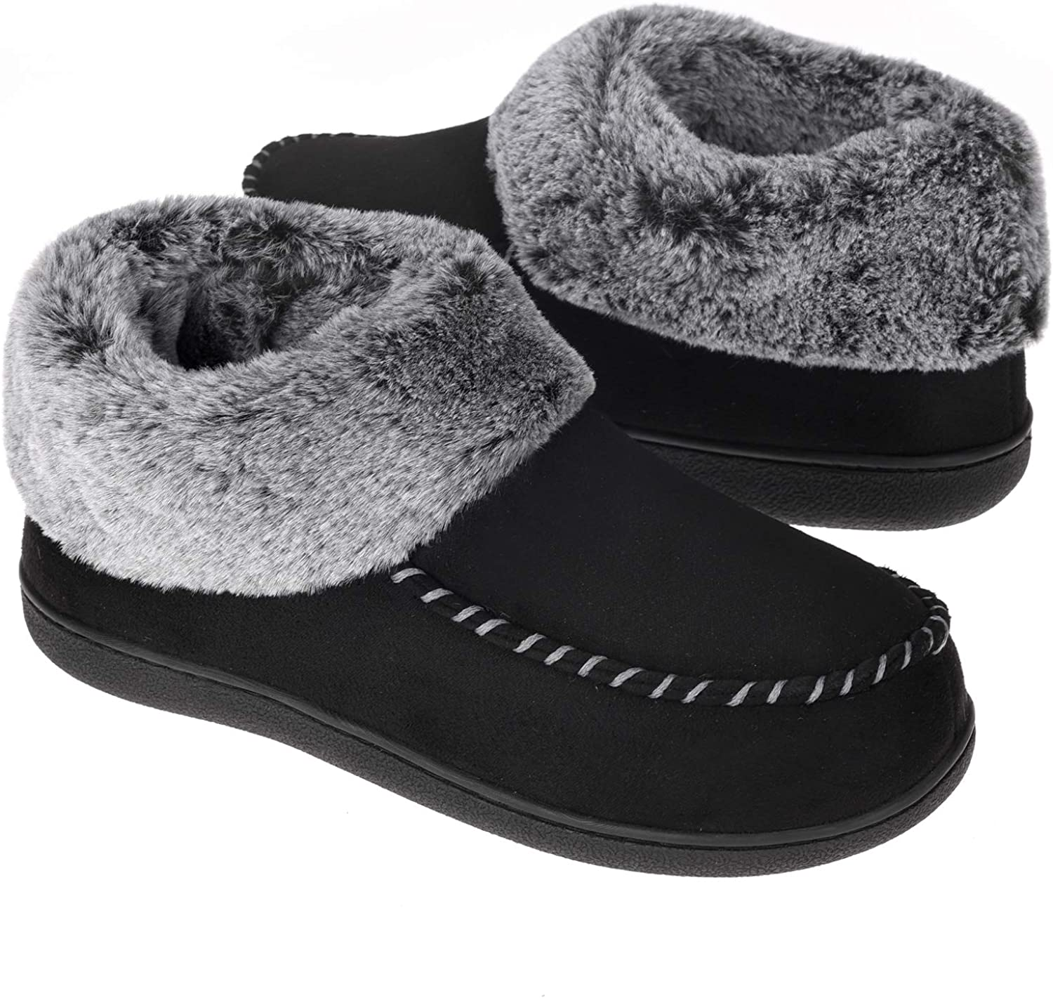 Women's Bootie Slippers Suede Moccasin Boots Fuzzy Plush Faux Fur House Shoes Winter Warm Memory Foam Non-Slip Indoor Outdoor