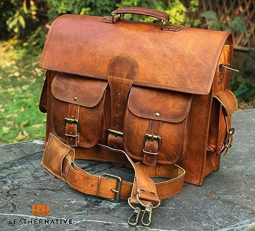 Men/'s Genuine Vintage Brown Leather Messenger Shoulder Laptop Bag Briefcase