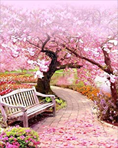 EOBROMD 5D Diamond Painting Full Drill DIY Embroidery Painting with Diamonds Wall Sticker for Wall Decor - Pink Tree 12x16inch