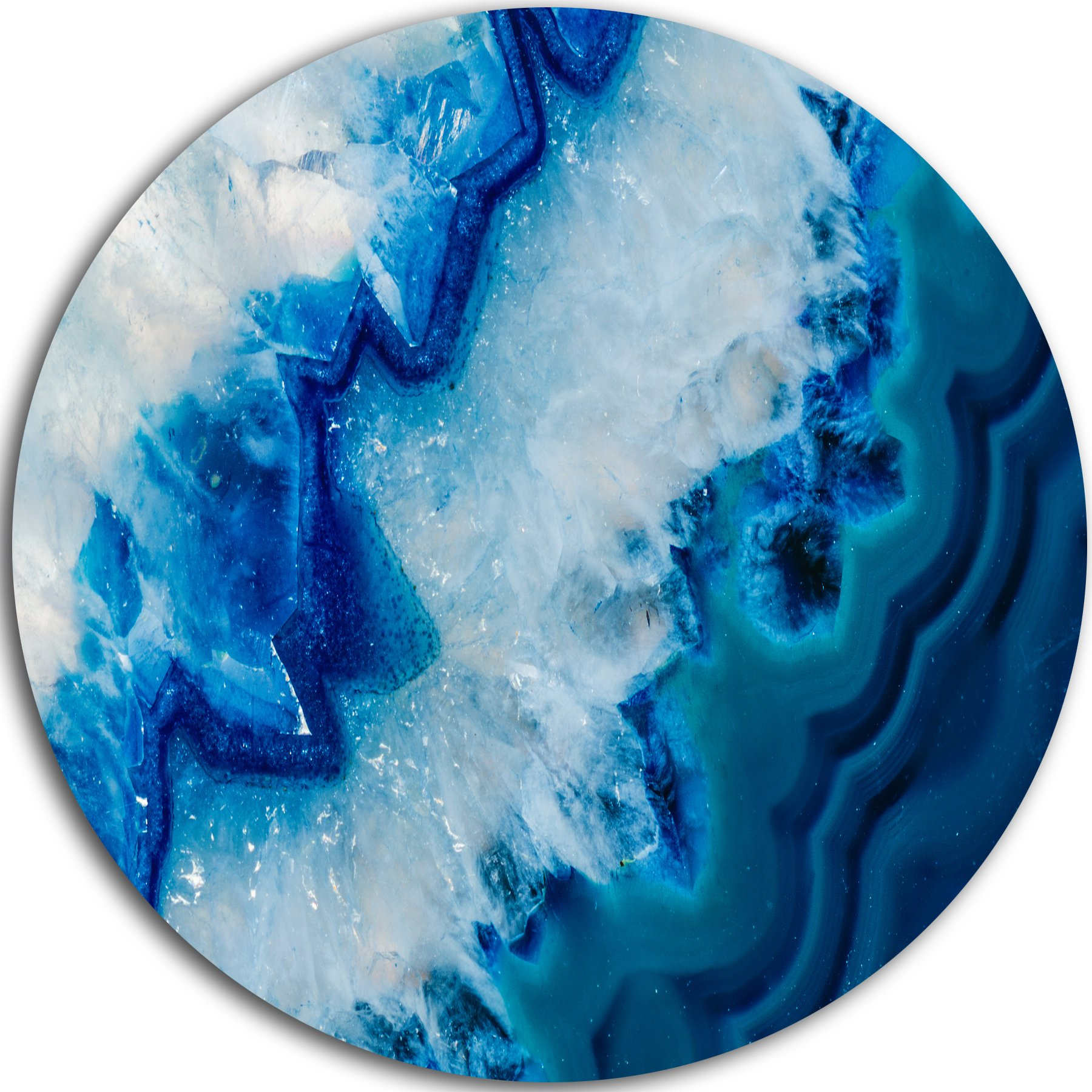 Designart MT8834-C38 ''Geode Slice Macro Abstract Digital Art Round'' Metal Wall Art, 38'' x 38'', Blue/White by Design Art