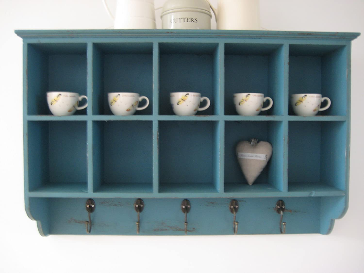 Shabby wooden french vintage style 10 pigeon hole cupboard cabinet shabby wooden french vintage style 10 pigeon hole cupboard cabinet shelves hooks blue amazon kitchen home amipublicfo Gallery