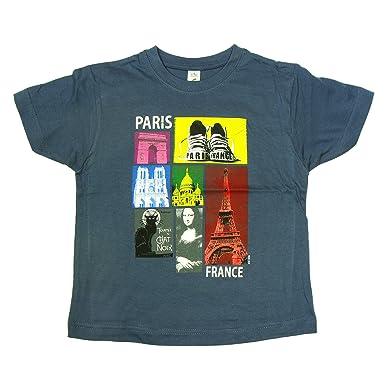 Souvenirs de France - T-Shirt Garçon  Paris Flash  - Bleu  Amazon.fr ... e4703b9f7ee9