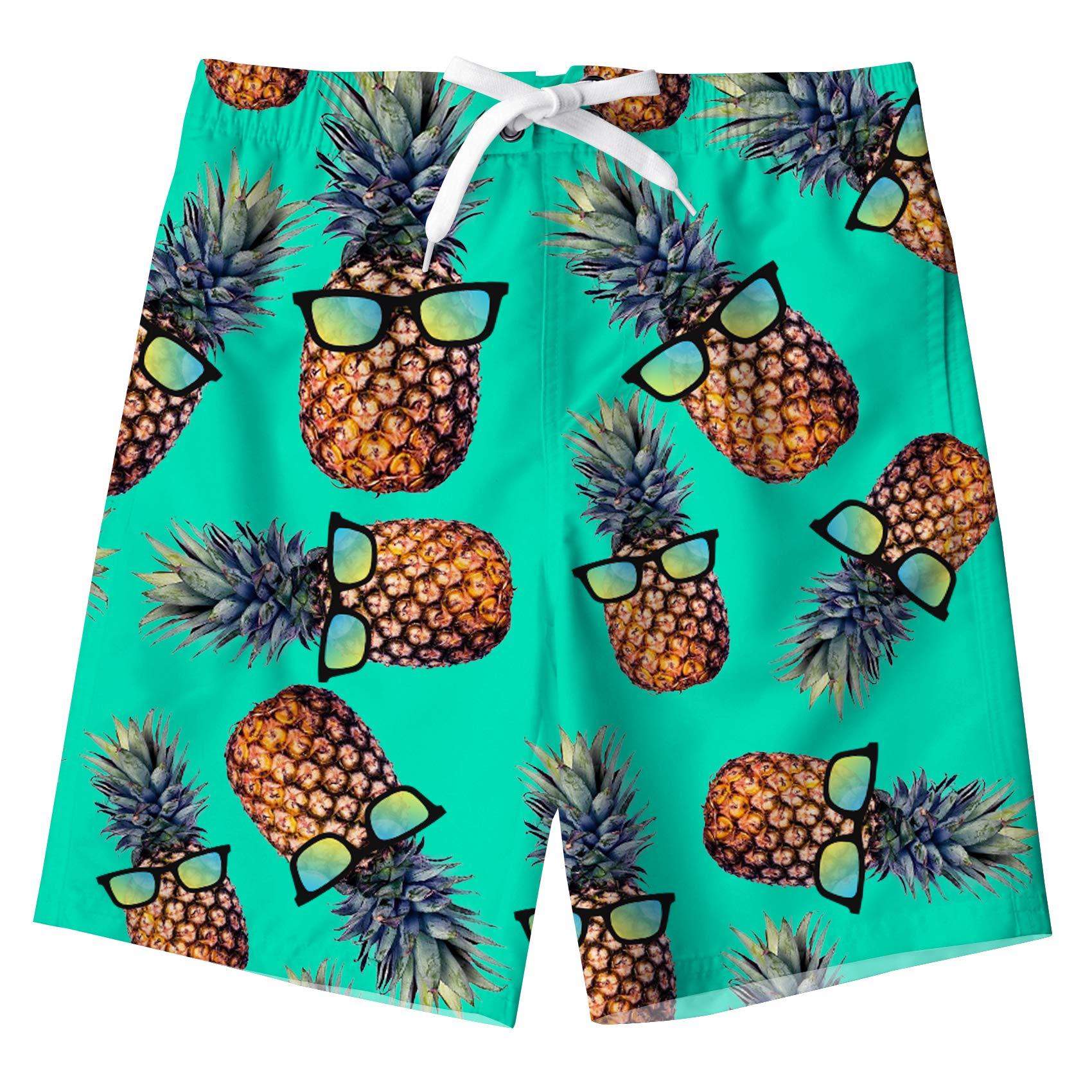 UNICOMIDEA Cute Kids Beach Shorts Boys Swim Trunks 3D Pineapple Print Swimwear Quick Dry Beach Surf Shorts for 6 Years
