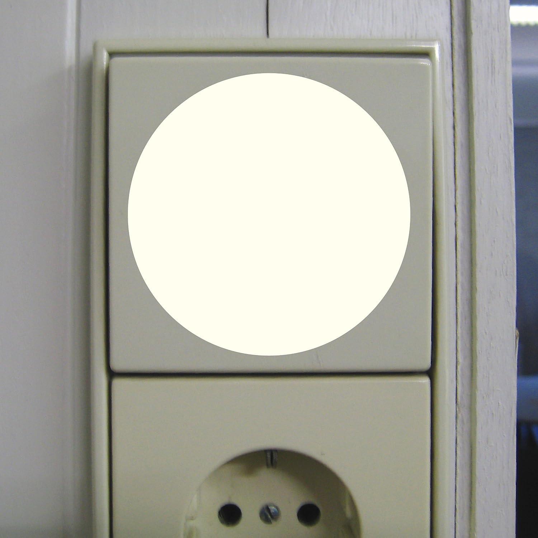 2 Stück 6cm Aufkleber rund leuchtet im Dunkeln selbstleuchtende Deko ...