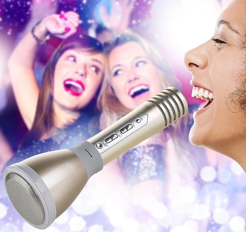 Genius Hi-Live Karaoke-Mikrofon | Bluethooth-Lautsprecher | LED-Beleuchtung | Mikrofon und Lautsprecher in einem Gerät | NEU