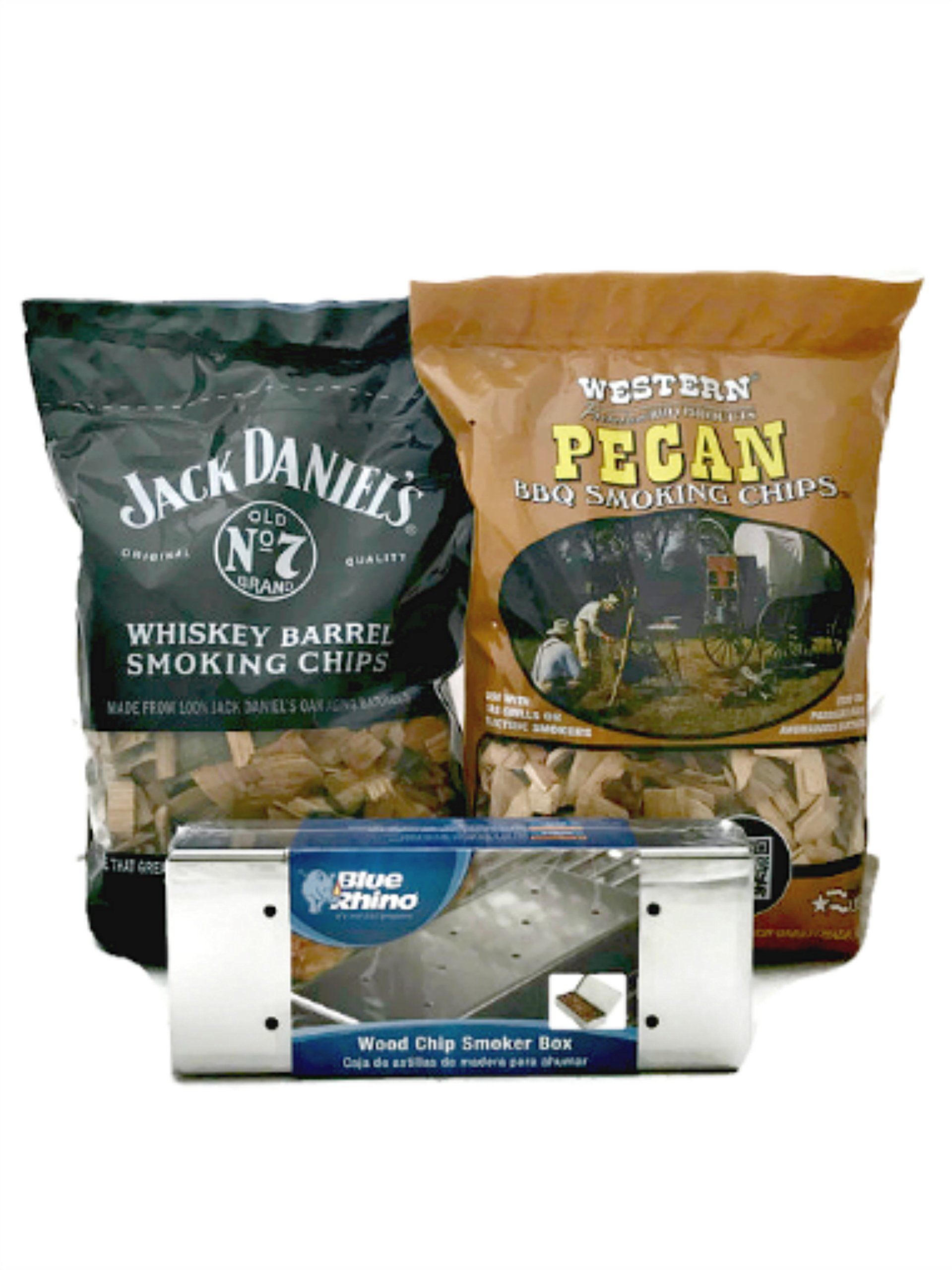 Smokin Grillin Bundle of 3: Blu Rhino Wood Chip Smoker Box, One Bag Jack Daniels Whiskey Barrel Smoking Chips and One Bag Western Pecan BBQ Smoking Chips by Blue Rhino, Jack Daniels and Western Cowboy