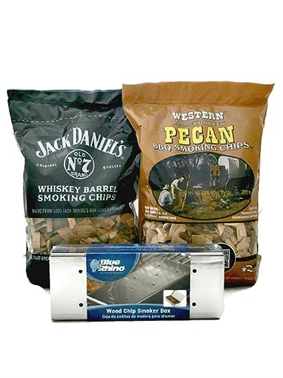 Blu Rhino Wood Chip Smoker Box One Bag Jack Daniels Whiskey Barrel Smoking Chips and One Bag Western Pecan BBQ Smoking Chips Smokin Grillin Bundle of 3