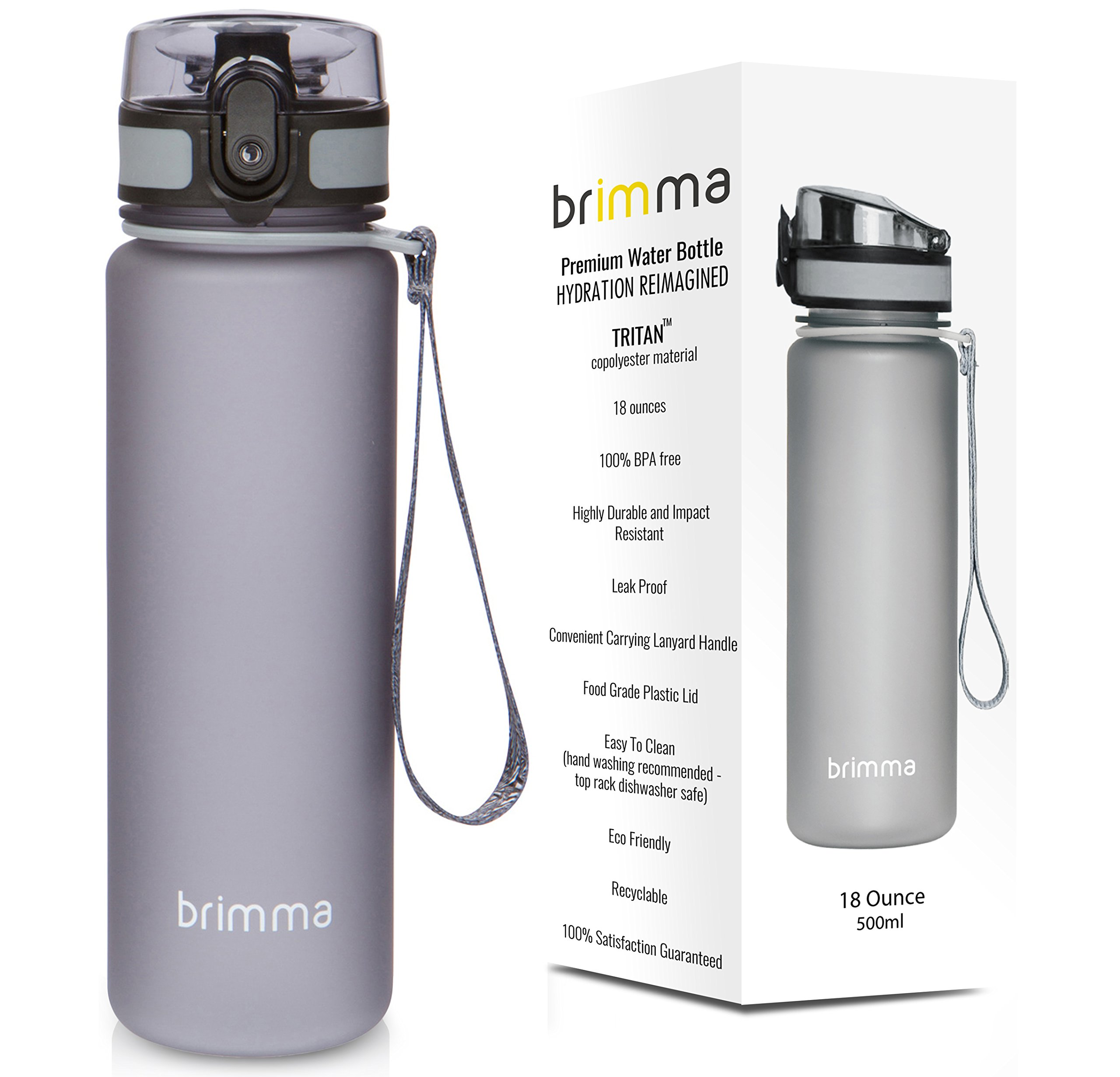 Premium Sports Water Bottle With Leak Proof Flip Top Lid - Eco Friendly & BPA Free Tritan Plastic - Must Have For The Gym, Yoga, Running, Outdoors, Cycling, and Camping - By Brimma …