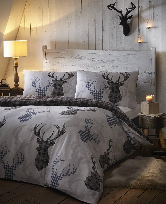 De cama cerf tartan carreaux gris argent animal parure de lit avec housse de ebay - Housse de couette tartan ...