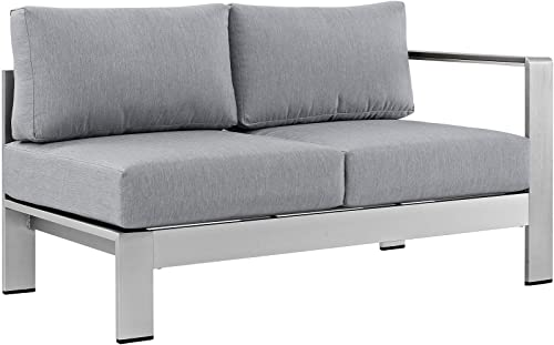Modway Shore Aluminum Outdoor Patio Right Arm Loveseat in Silver Gray