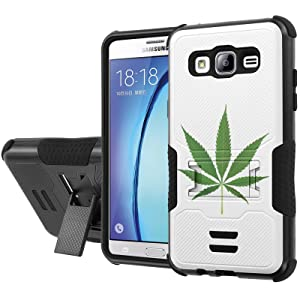 Galaxy [On5] Armor Case [NakedShield] [Black/Black] Urban Shockproof Defender [Kick Stand] - [Weed Leaf] for Samsung Galaxy [On5]