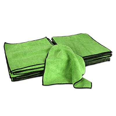 Eurow Microfiber Absorbent Cleaning Towels Green with Black Trim 12 x 12in 350 GSM Bulk Value 50 Pack: Automotive
