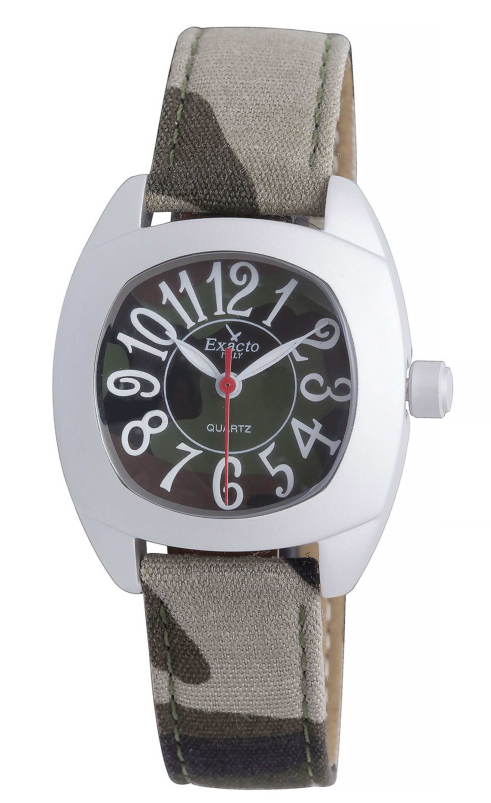 Haurex Italy Kid's 8882J Exacto Square Camouflage Canvas Wristwatch
