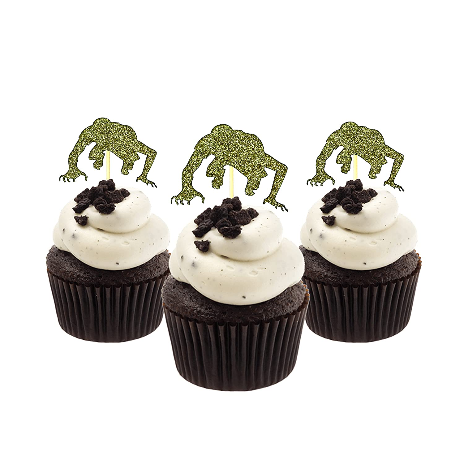 Zombie Halloween Cupcake Topper 12 pieces per Pack Decoration Cake glitter Card Stock Gold