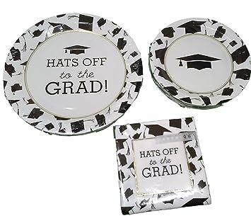 Graduation Party Paper Plates for 16 Guests (16 Dinner Plates 16 Dessert Plates  sc 1 st  Amazon.com & Amazon.com: Graduation Party Paper Plates for 16 Guests (16 Dinner ...