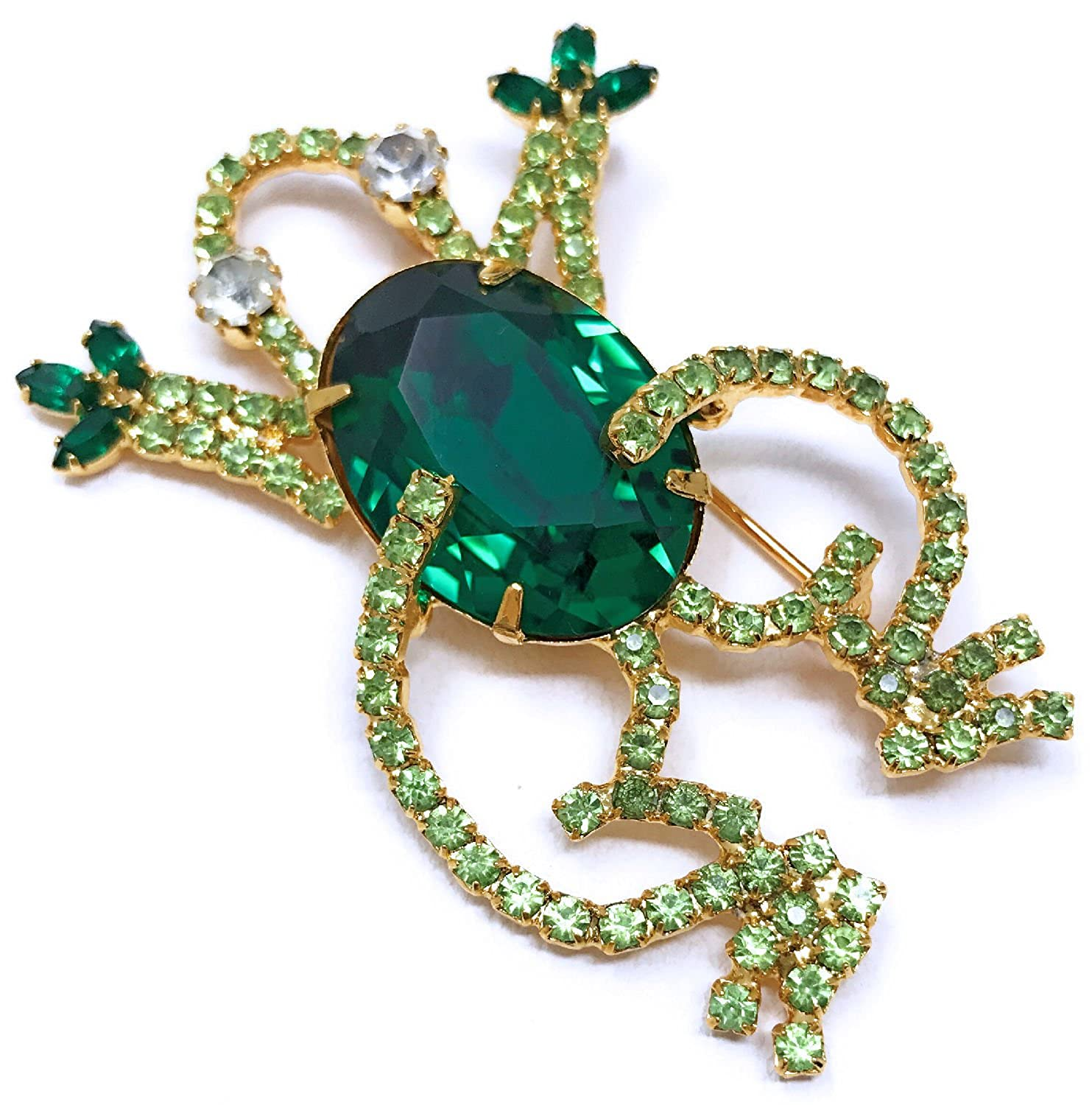 Daves Collections Bejeweled Glitzy Austrian Crystal Gold-Plate Green Frog Brooch 1.75 x 2.5