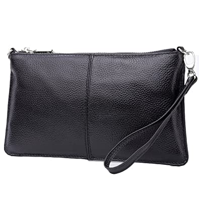 30bcfe6e3c2eb Lecxci Leather Crossbody Purses Clutch Phone Wallets with Card Slots for  Women (Black)