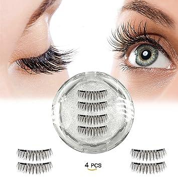 ec439005bf9 Full Size Dual Magnetic False Eyelashes (4 Pcs Black ) - Handmade 3D  Reusable Fake