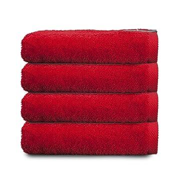 ADP Home - Pack Toallas 550 Grms 4 Piezas (Toalla Lavabo/Mano) 100% Algodón Peinado Color - Rojo Talla - 50 x 100 cm: Amazon.es: Hogar