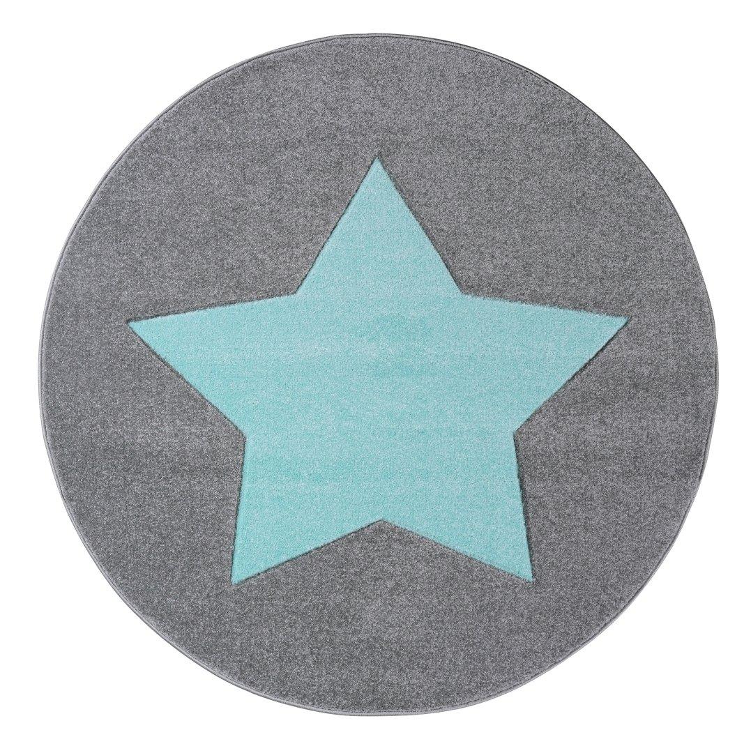 Livone Hochwertiger Jugendteppich Kinderzimmer Kinderteppich Stern Silber Silber Silber grau Mint Größe 133 cm rund fdf02d