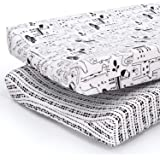 The Peanutshell Baby Changing Pad Covers for Boys or Girls   Black & White 2 Pack Set   Zoo Animals & Tribal Stripes