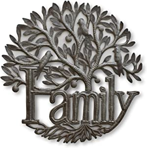 Family Tree Wall Hanging Metal Plaque, Decorative Handmade Tree of Life, Indoor and Outdoor Home Decorations, Handcrafted in Haiti, 17.5 x 17.5 Inches