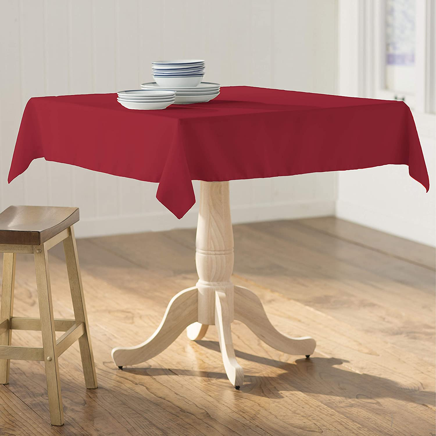 58 by 58-Inch LA Linen Polyester Poplin Tablecloth Brown