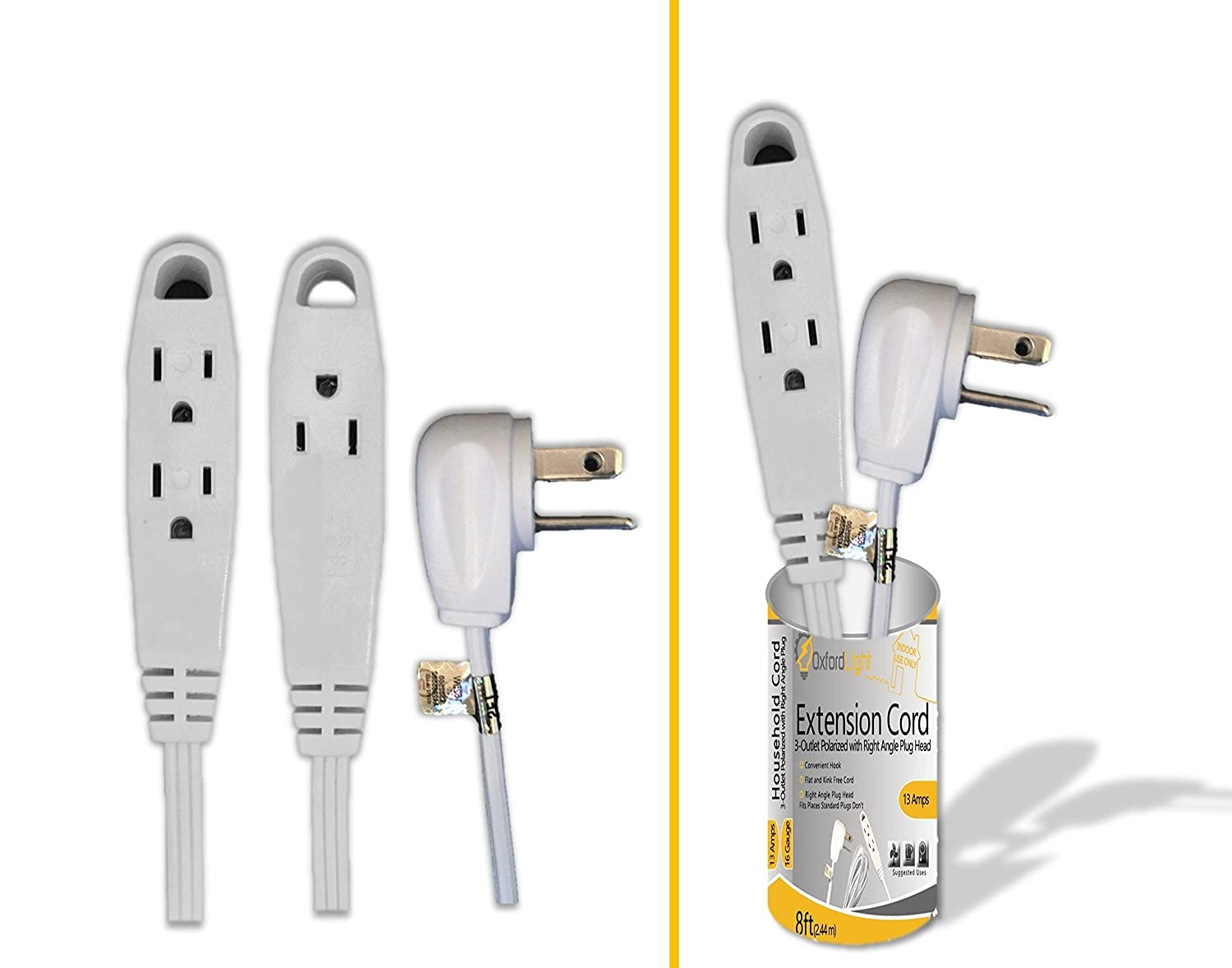 Oxford Light Top Rated 8 Ft White Extension Cord 3 Outlet Indoor Wiring A Plug Outdoor Ol454418 Flat Wire