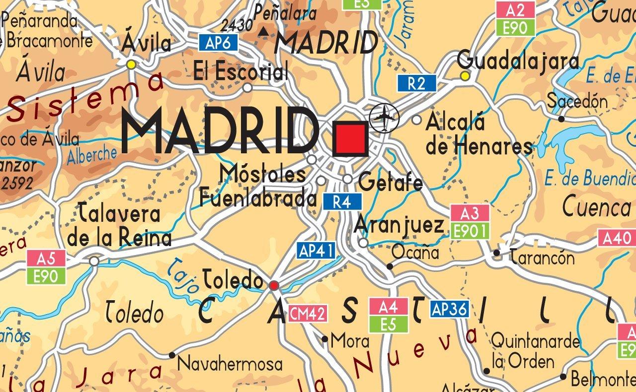 /tama/ño A2/42/x 59,4/cm Mapa Espa/ña F/ísico/ /Papel laminado/