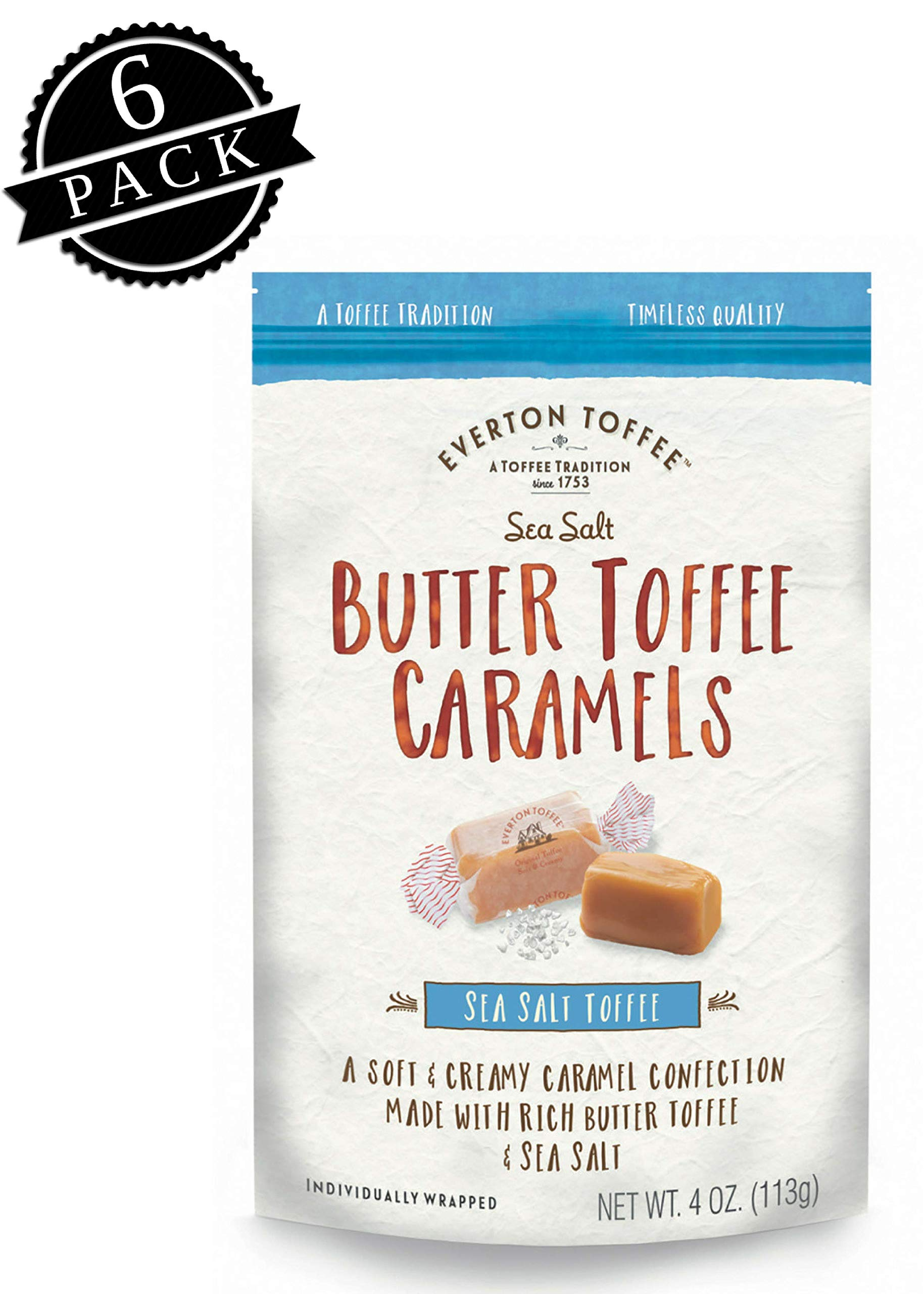 Everton Toffee Butter Toffee Caramels, Sea Salt Flavor (4 oz. bag, 6-pack). Gourmet, Artisan Soft and Creamy Toffee Caramels, Small Batch Crafted Carmel Candy Treats by Everton Toffee