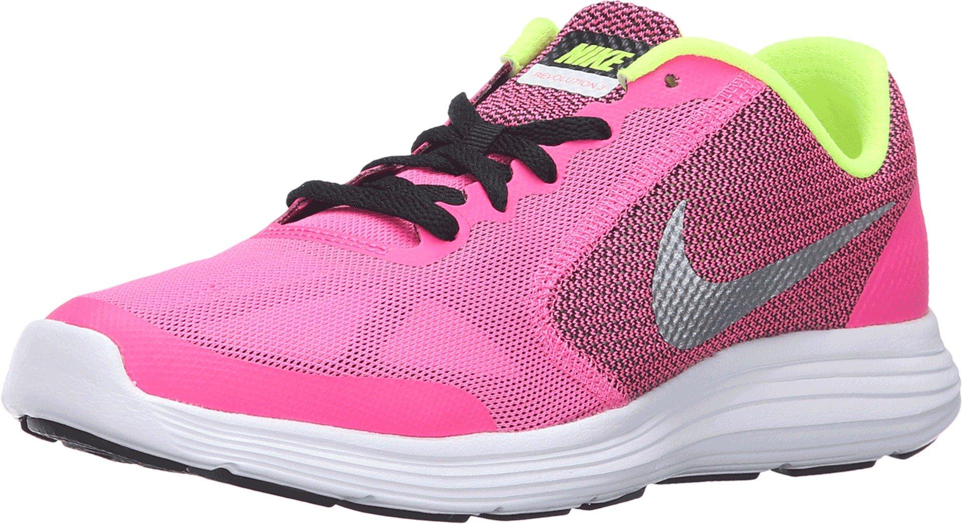 Nike Girls' Revolution 3 (GS) Running Shoe, Pink BlastMetallic SilverBlackWhite, 7 M US Big Kid
