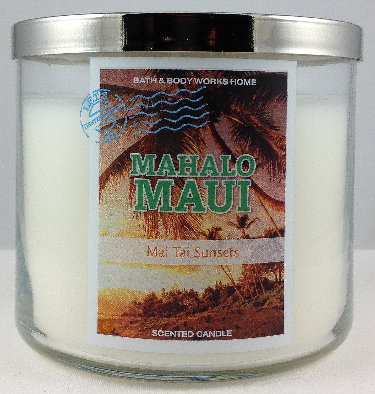 Bath & Body Works MAHALO MAUI 14.5 oz 3 wick candle Mai Tai Sunsets 2014 Destinations line 3353AGA5