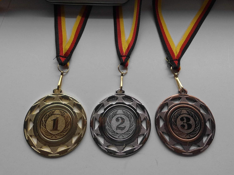 - Gold Fanshop L/ünen Medaillen Set e109 Silber 50mm aus Stahl 1 Zahl Zahlen Medaillenset mit Medaillen-Band - -2 -3 mit Alu Emblem Bronze