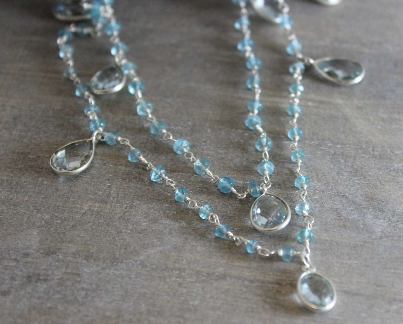 Blue Topaz and Apatite Wire Wrapped Long Sterling Silver Necklace, 47 inches mother's day gift idea