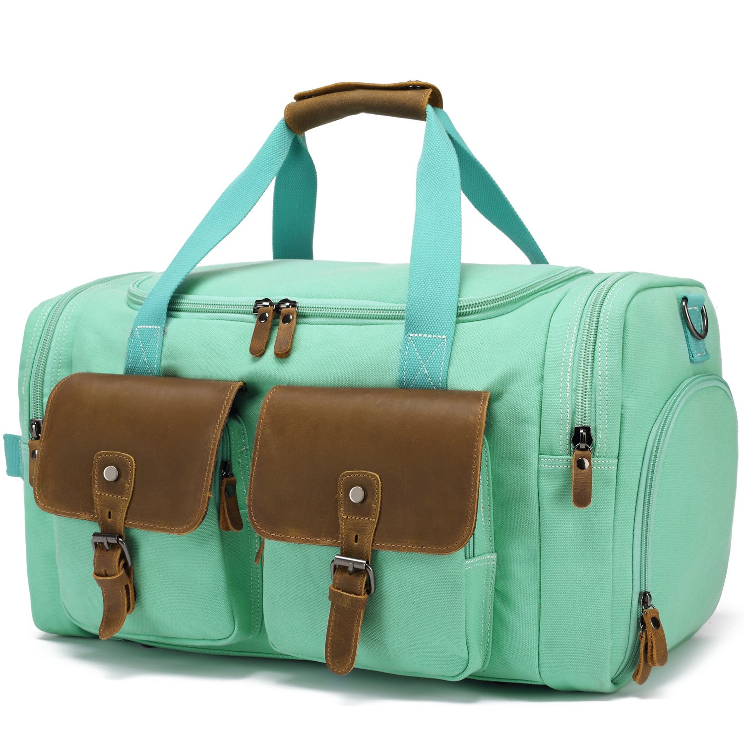 BLUBOON Weekender Duffle Bag Canvas Overnight Travel Duffel with Shoe Compartment for Women Leather Carry on Luggage Travel Tote Bag (Mint Green) by BLUBOON (Image #1)