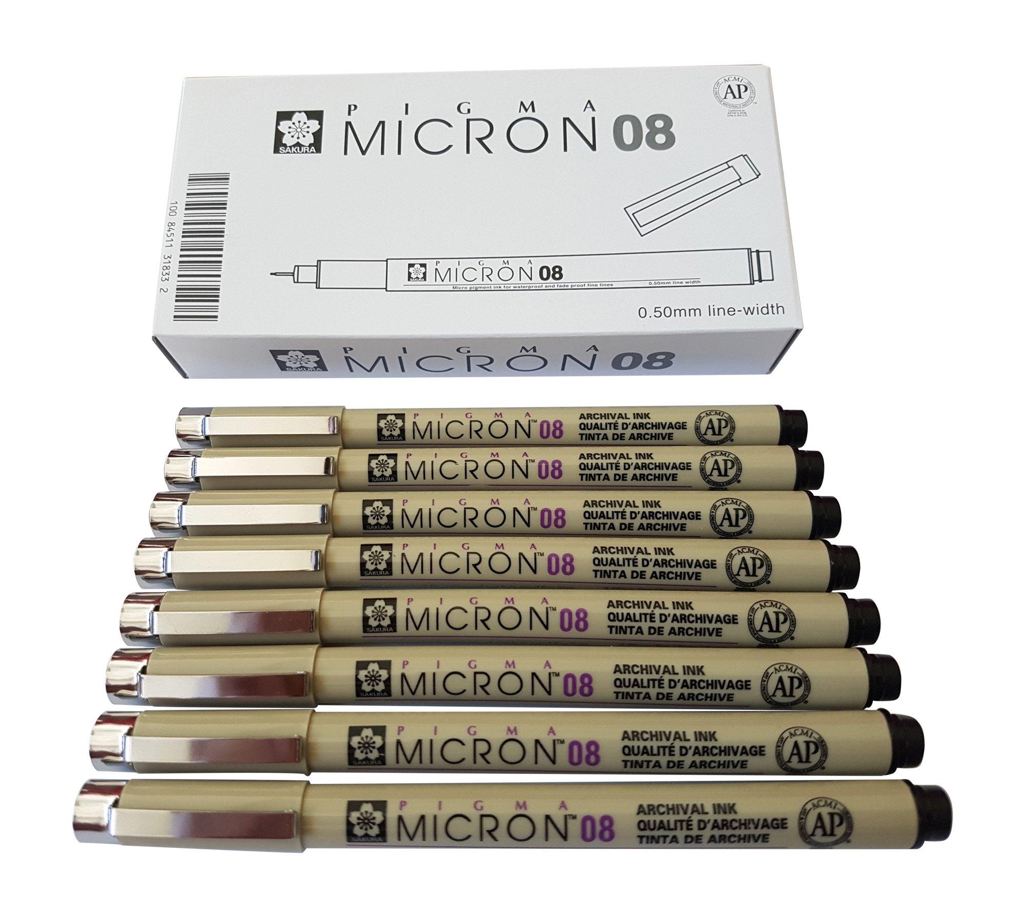 Sakura Micron Pigma Fine Line Multi Point Pen Set Black Archival Ink 005 02 08